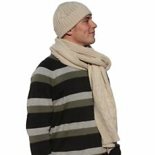 New Mens Cable Knit Design Beanie Hat- Long Scarf Winter Thermal Fashion Set