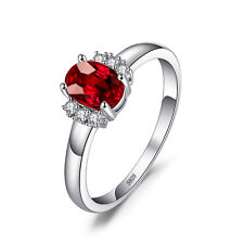 JewelryPalace 1.0ct Oval Gemstone Genuine Garnet Ring 925 Sterling Silver
