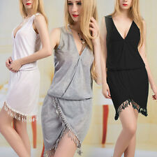 Women's Sexy Sleeveless Deep V-Neck Boho Tassels Sundress Party Mini Beach Dress