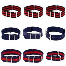 Genuine Nylon Watch Strap Band Brushed Steel Buckle Mens Womens Wristwatch Band