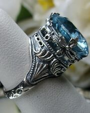 10ct *Aquamarine* Solid Sterling Silver Leaf Queen Filigree Ring Size Any/MTO
