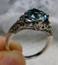 2ct Victorian *Aquamarine* Sterling Silver Filigree Ring Size: {Made To Order}