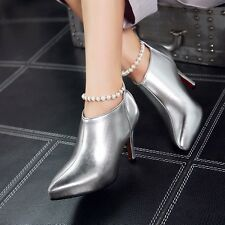 New Women's Ankle Boots High Heel Formal Party Dressy Pearl Boots Shoes