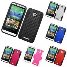 For HTC Desire 510 Case Hard Soft Dual Layer Slim Thin Rugged Mesh Cover