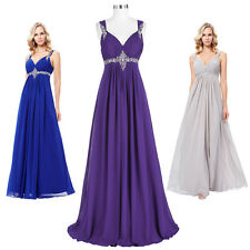 NEW Long Chiffon Evening Formal Party Ball Gown Prom Bridesmaid Dress Size 4-16