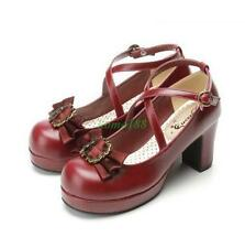 Womens Round Toe Bowknot Block Heels Ankle Strap buckle Mary Jane Lolita Shoes