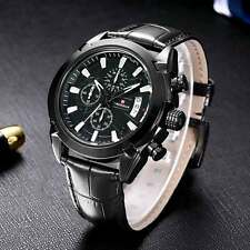 Quartz Wrist Watch Date Day Chronograph Men's Analog Sports Leather Gift