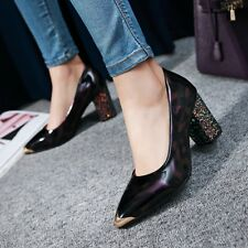 New Women's Formal Shoes High Block Glitter Heel Gold Pointed toe Party Shoes