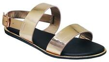 Bamboo Stardust-67S Womens metalicflat double band flat sandals