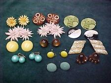 VINTAGE LOT EARRINGS BAKELITE LUCITE PLASTIC ART DECO CARVED MOLDED CHARTREUSE
