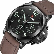 Fashion Sport Quartz Analog Mens Wrist Watch Date Army Leather Band Luxury Gift