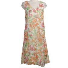 RALPH LAUREN Ivory Crinkle Georgette Floral Ruffle Hem Sleeveless Dress 12 NEW