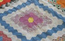 Vintage 40s Quilt Top Hand Stitched Feedsack Fabrics Pink Red Blue