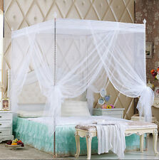 White Princess Bed Canopy Mosquito Netting Or Bed Frame Twin Full Queen King