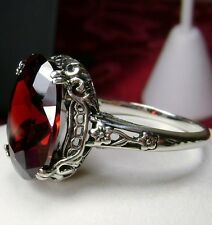5ct *Garnet* Sterling Silver Victorian/Edwardian Filigree Ring {Made To Order}