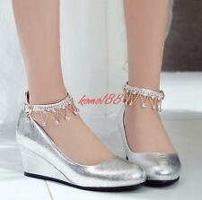 Womens Glitter Ankle Strap Wedge Heel Party Shoes Rhinestone wedding pumps size
