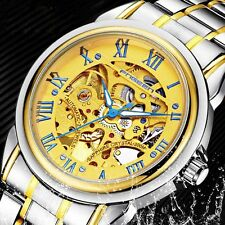 Men's Automatic Golden Watch Wrist Mechanical Stainless Steel Roman Luxury Gift