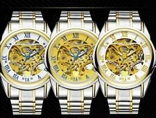 Men's Automatic Golden Watch Skeleton Wrist Mechanical Stainless Steel Roman New