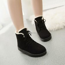 New Fashion Women Round Toe Ankle Boots Shoes Flat With Lace Up Boots N4U8