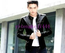 Mens Korean Slim Fit PU Leather Jacket Stand Collar Motorcycle Casual Coat New