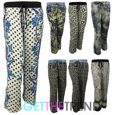 Womens Floral Paisley Summer Linen Trousers Cotton Pants Ladies Capri Bottoms