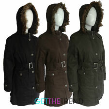 Womens Hooded Black Parka Ladies Padded Winter Coat Fur Lined Thick Jacket S-XL
