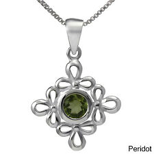 Handmade Sterling Silver Floral Gemstone Necklace (Thailand)