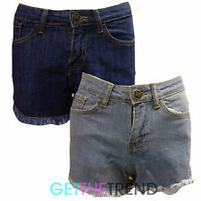 Womens Blue Denim High Waisted Frayed Shorts Ladies Light Wash Pocket Hotpants