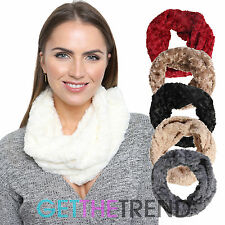 Womens Floral Soft Rose Snood Ladies Black Cream Cowel Cowl Winter Snood Scarf
