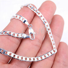 18K White Gold Plated GP 4 mm Wide Flat Cuban Curb Link Chain Necklace H819