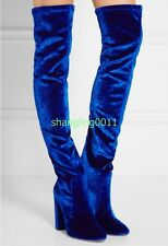 Womens Trim Velvet Over Knee Boots Thigh Pointy Toe Chunky High Heel Boots Shoes