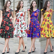 Women's 1950s Vintage Rockabilly Swing Dress Retro Floral Cocktail Party Skater