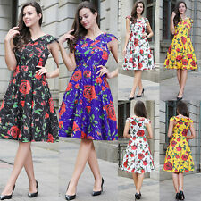 Women's Cap Sleeve Floral 1950's Vintage Style Retro Evening Party Swing Dress