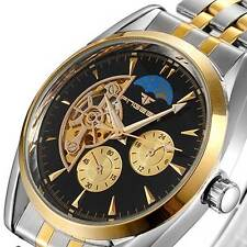 Mens Tourbillon Watch Stainless Mechanical Wrist Automatic Skeleton Luxury Sport
