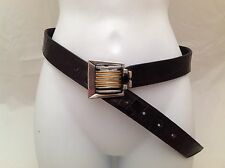 Vintage Fahrenheit Black Croc Embossed Belt with Pewter Buckle Connie Bates S