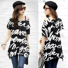 Women Crew Neck Plus Size Tops Loose Short Sleeve Print T-Shirt Casual Blouse