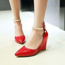 Women Wedge Heel Beads Ankle Strap Patent Leather Pump Shoes Pointed toe Party @