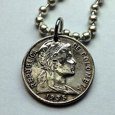 Colombia 1 centavo coin pendant Colombian lady necklace liberty goddess n000907