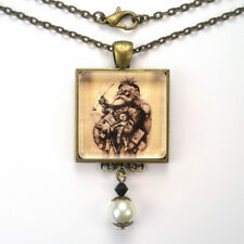 CHRISTMAS SANTA CLAUS RETRO VINTAGE CHARM SILVER OR BRONZE ART PENDANT NECKLACE