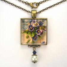 """PANSY PANSIES FLOWER """"VINTAGE CHARM"""" BRONZE OR SILVER ART GLASS PENDANT NECKLACE"""