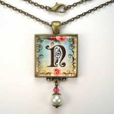 "INITIAL LETTER ~ N ~ MONOGRAM ""VINTAGE CHARM"" BRONZE OR SILVER PENDANT NECKLACE"
