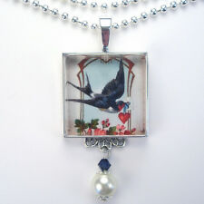 VALENTINES DAY BLUE BIRD LOVE HEART VTG CHARM BLUEBIRD SILVER PENDANT NECKLACE