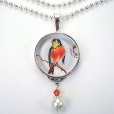 "RED ROBIN BIRD ""VINTAGE CHARM"" PENDANT SILVER OR BRONZE NECKLACE BY CHARMEDWARE"