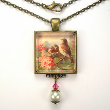"""MOTHER BIRD CHICKS IN NEST """"VINTAGE CHARM"""" BRONZE OR SILVER PENDANT NECKLACE"""