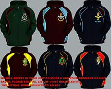 UNITS 0 TO 21 UK FOREIGN ARMY AIR FORCE NAVY REGIMENTAL COLOUR ZIP HOODY XS  5XL