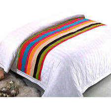 Latest Bed Runner Rainbow Striped Bed Flag Pillow Dustproof Cover Bedding Supply