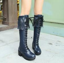 Womens Punk Chunky Heels Platforms Lace Up Tassel Knee High Boots Stage Shoes Sz