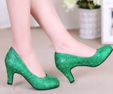 New Women's Lace Round Toe Low Top Kitten Heels 5CM Shoes Wedding Pumps Party Y
