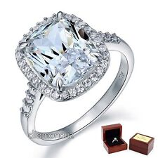 925 Sterling Silver Bridal Engagement Ring 6 Ct Lab Created Cushion Diamond Halo