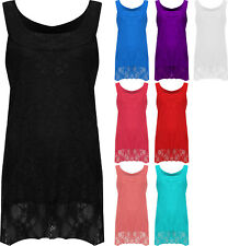 New Ladies Plus Lace Dipped Hem Lined Womens Sleeveless Vest Stretch Top 12 - 26